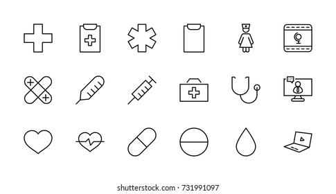 Set of medicine vector line icons. It contains the first aid kit, nurse, syringe, thermometer, plastic, pills, heart, drop of blood, palpitation and much more. Editable move. 32x32 pixels.