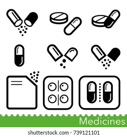 Set of medicines icons. Capsules, pills, powders and tablet packs. Vector Illustration