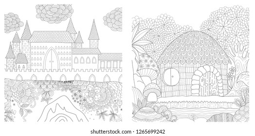 Set of medieval castle and hut in the jungle for adult coloring book, coloring page, colouring picture and other design element. Vector illustration