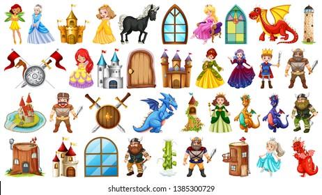 Set of medieval character illustration