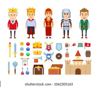 Set of medieval characters and various design elements. Icons of king, knight, young prince, peasant, castle, treasure chest and other fantasy elements. Flat design vector illustration