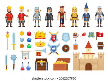 Set of medieval characters and various design elements. Icons of king, knight, warrior, wizard, viking, castle, treasure chest and other fantasy elements. Flat design vector illustration