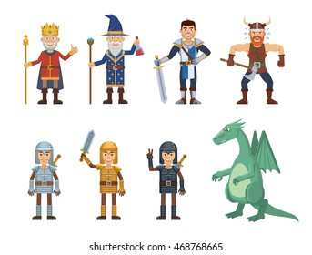 Set of medieval fantasy characters. King, wizard, magician, knight, soldier, viking, dragon, crusader, sorcerer, paladin. Simple style vector illustration