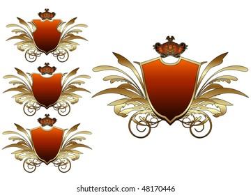 Set of medieval heraldic shields