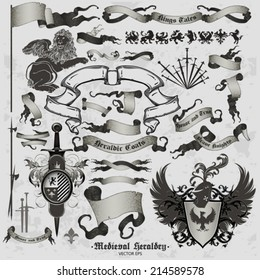 set of medieval heraldry