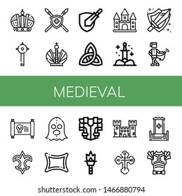 Set of medieval icons such as Crown, Mace, Spear, Rpg game, Paganism, Castle, Sword, Medieval, Treasure map, Fleur de lis, Executioner, Rune, Armour, Torch, Fortress , medieval