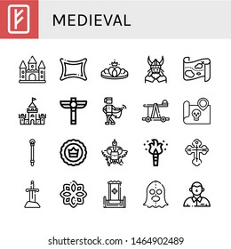 Set of medieval icons such as Rune, Castle, Crown, Viking, Treasure map, Scepter, Medieval, Catapult, Sceptre, Coat of arms, Torch, Orthodox cross, Sword, Throne, Executioner , medieval