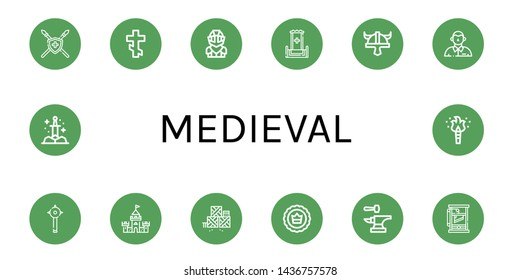 Set of medieval icons such as Spear, Orthodox cross, Knight, Throne, Viking helmet, Defendant, Mace, Castle, Defense, Crown, Anvil, Guillotine, Sword, Torch , medieval