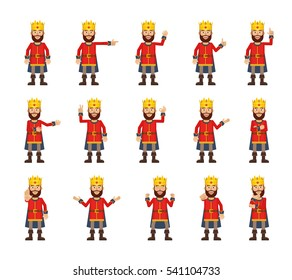 Set of medieval king characters showing different hand gestures. Cheerful king showing victory sign, stop, greeting, waving, pointing, thumb up and other hand gestures. Simple vector illustration