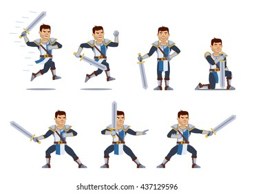 Set of medieval knight characters showing different actions. Cheerful knight standing, praying, running, jumping, attacking, holding sword. Flat style vector illustration