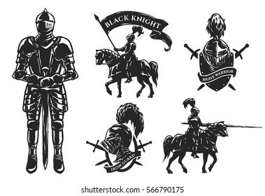 A set of medieval knights. Armor, mounted knights, emblems.