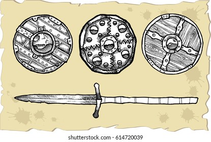 Set of medieval shields against the background of old papyrus.Vector sketch for tattoo.