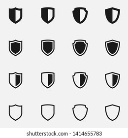 Set of medieval shields black and white vector icon.