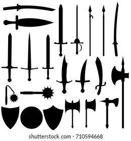 Set of medieval weapons. Antique swords, axes, spears. Black arms on white background. Vector isolated elements.