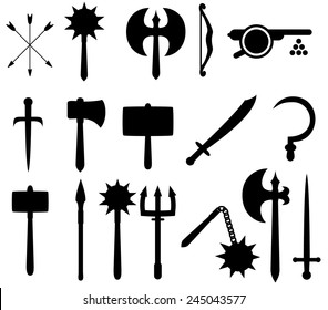 Set of medieval-style weapon icons.