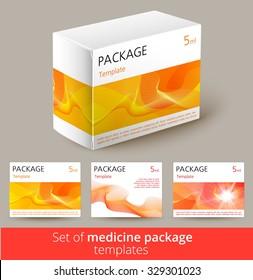 Set of medisine package design with 3d-template. Vector illustration.