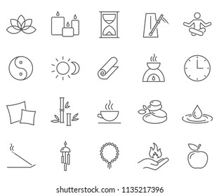 Set of meditation Related Vector Line Icons. Contains such Icons as yoga, philosophy, esoteric, aromatherapy and more.