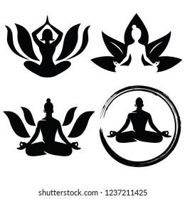 Set of Meditation Yoga Logo Design Vector