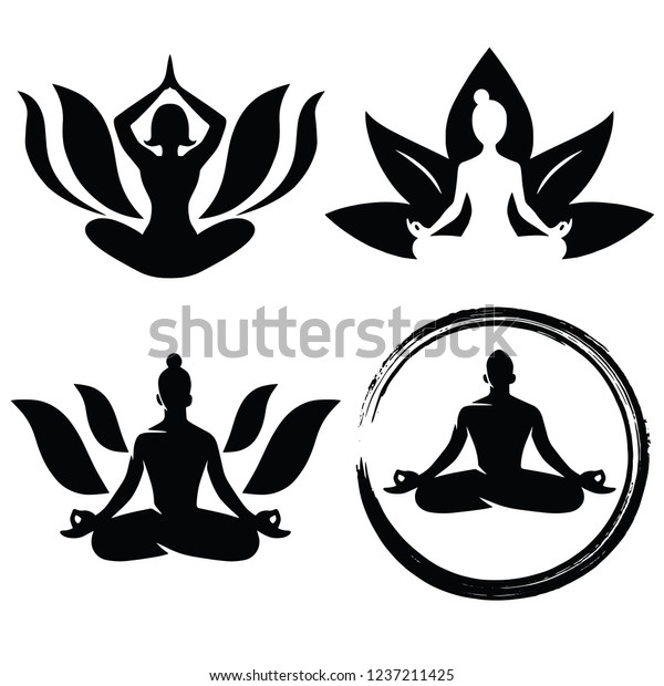 Set Meditation Yoga Logo Design Vector Stock Vector Royalty Free 1237211425