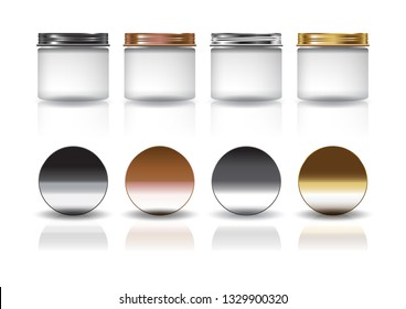 Set of medium white cosmetic round jar with black-copper-silver-gold lid mockup template. Isolated on white background with reflection shadow. Ready to use for package design. Vector illustration.
