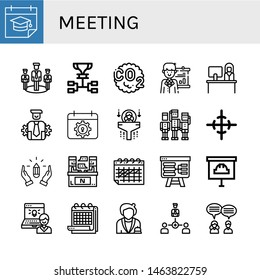 Set of meeting icons such as Calendar, Team, Schedule, Co, Presentation, Reception, Management, Human resources, Center of gravity, Hands, Interview, Administrator, Receptionist , meeting