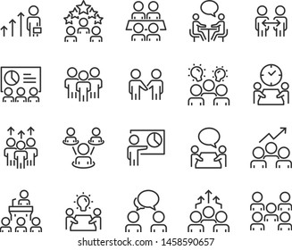 set of meeting icons, such as discussion, collaborate, team, seminar, people