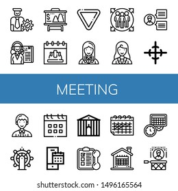 Set of meeting icons such as Manager, Receptionist, Presentation, Calendar, Yield, Team member, Businesswoman, Team, Center of gravity, Leadership, Town hall, Training , meeting