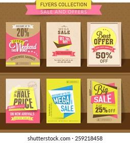 Set of Mega Sale flyer, poster or banner design with best discount offers.