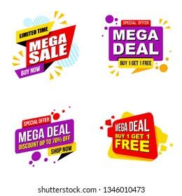 set of Mega sale promotion banner modern template.Vector design