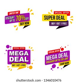 set of Mega sale promotion banner modern template.Vector design