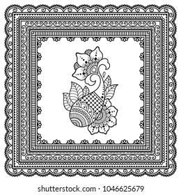 Set of Mehndi flower pattern and frame for Henna drawing and tattoo. Decoration in oriental, Indian style.
