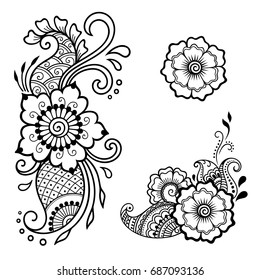 Set of Mehndi flower pattern for Henna drawing and tattoo. Decoration in ethnic oriental, Indian style.