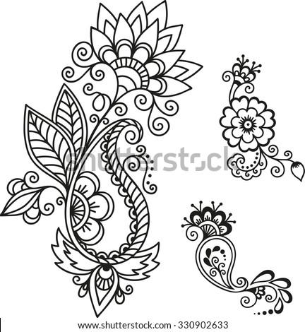 Set Mehndi Flower Pattern Henna Drawing Stock Vector Royalty Free
