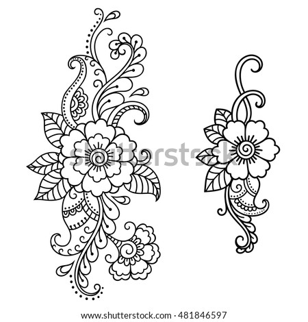 Set Mehndi Flower Pattern Henna Drawing Stock Vector Royalty Free