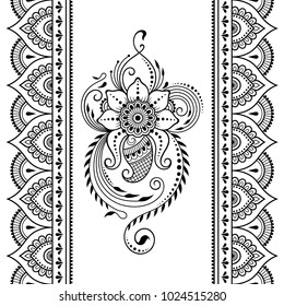 Set of Mehndi flower pattern and seamless border for Henna drawing and tattoo. Decoration in oriental, Indian style.