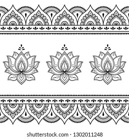 Set of Mehndi lotus flower pattern and seamless border for Henna drawing and tattoo. Decoration in oriental, Indian style.