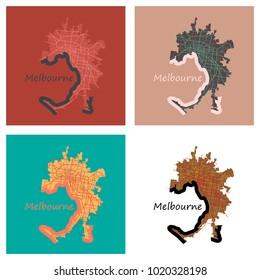 Set of Melbourne Australia Map in Retro Style. Flat Illustration.