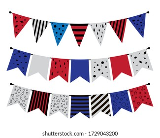 Set of Memorial Day festive flags for decorating parties. illustration for the design of greeting cards, announcement, promotion, poster, flyer, blog, article, brochure, signage