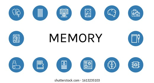 Set of memory icons. Such as Brain, Sticks, Knowledge, Hard disk, Camera bag, Usb flash drive, Micro sd, Motherboard, Cpu, Hard drive , memory icons