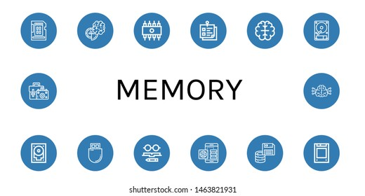 Set of memory icons such as Sd card, Brain, Rom, Sticky note, Hard disk, Hard drive, Flash drive, Knowledge, Floppy disk, Solid state drive, Camera bag , memory