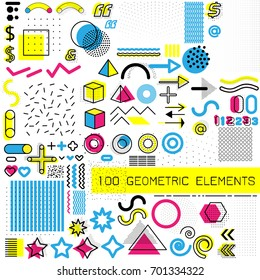 Set of memphis design elements, template for your project, animation, and advertising, advertisement, commercial banner, poster, t-shirt. Collection of geometrical colored vector elements.