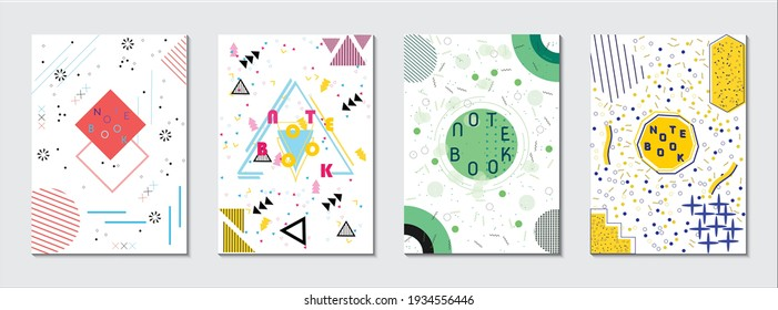 Set of memphis retro styled geometric shaped template for notebook cover, brochure, poster, banner