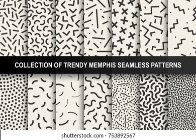 Set of memphis seamless patterns. Fashion 80-90s. You can find seamless backgrounds in swatches panel.