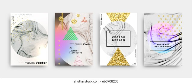 Set of memphis style backgrounds with marble textures, golden glitters and geometric patterns. 80s retro minimalistic style vector illustrations for posters, placards, banners, covers and brochures.