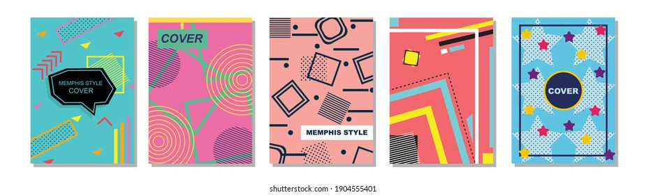 Set of Memphis Style Covers. Flat Vector Illustrations for Background, Brochures, Posters and Banners.