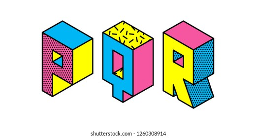 Set of memphis style letters P Q R. Cyan magenta yellow letters in the style of the 80s-90s  isolated on white background. Vector.