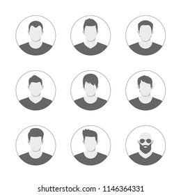 Set of men avatar template. User icons collection. Symbol of people for website avatar. Vector illustration