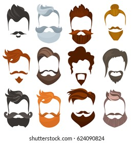 Set of men cartoon hairstyles with beards and mustache. Collection of fashionable stylish types lumbersexual or hipsters silhouette isolated on white background. Cartoon flat style vector illustration