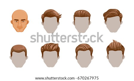 Set Men Cartoon Hairstyles Collection Fashionable Stock Vector ...