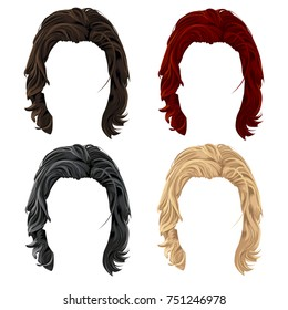 Set of men cartoon long hair in black,brown,red and blond color. Vector illustration with isolated realistic hairstyles on a white background